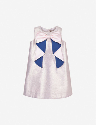 Hucklebones London Origami-bow crepe shift dress 4-12 years