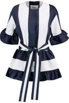 Goen.j Ruffle-Trimmed Wool-Twill Mini Dress