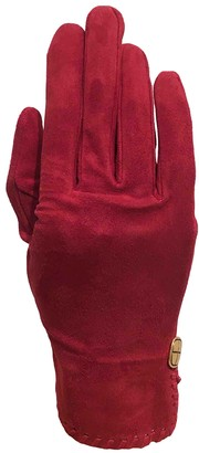 Chanel Red Suede Gloves
