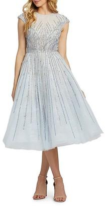 Mac Duggal Embellished Cap-Sleeve Midi Flare Dress