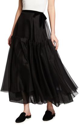 Brock Collection Tiered Silk-Chiffon Midi Skirt