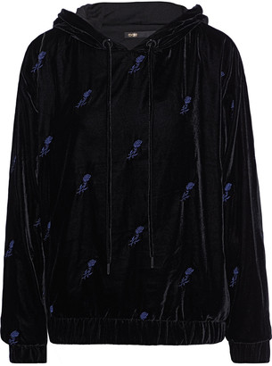 Maje Embroidered Velvet Hoodie