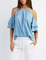 Charlotte Russe Embroidered Chambray Cold Shoulder Top