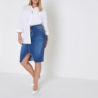 River Island Womens Plus mid Blue split front denim pencil skirt