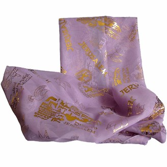 Biblical World Jerusalem Scripture Scarf For Woman 100% Polyester 20 x 60 inches - purple - Large