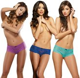 Dreamgirl Women's Cheeky Stretch Lace Open Crotch Short 3 Panty Pack