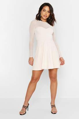 boohoo High Neck Mesh Skater Dress