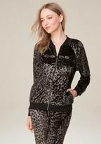 Bebe Logo Leopard Print Jacket
