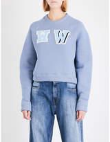 Off-White Oversized cropped cotton-jersey sweatshirt