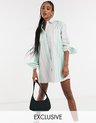 Collusion dad shirt dress in pastel stripe