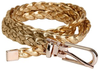 SODIAL(R) Women Simple Braided PU Leather Narrow Thin Buckle Strap Waist Belt Waistband Colors: Gold