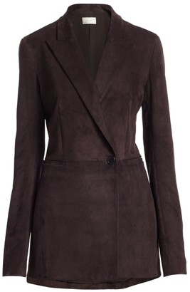 The Row Ciel Suede Wrap Blazer