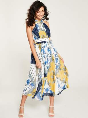 Whistles MultiPrint Scarf Pleated Dress - Blue