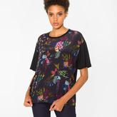 Paul Smith Women's Black Silk-Panel T-Shirt With 'Ocean Floral' Print