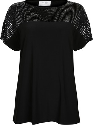 Wallis PETITE Black Shimmer Contrast Top