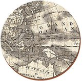 Creative Tops Globe Premium Round Cork-backed Coasters, Wood, Yellow, 4-Piece
