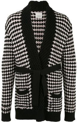 Laneus Chunky-Knit Belted Cardigan