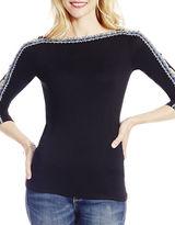 Jessica Simpson Solid Three-Quarter Sleeve Top
