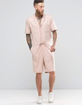 Asos Slim Short Boiler Suit With Military Styling In Light Pink