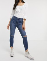 Free People Sunny Mid Rise Skinny Jean in blue