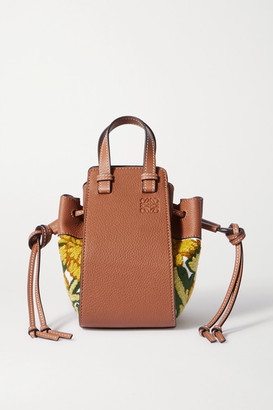 Loewe Hammock Mini Embroidered Linen And Textured-leather Shoulder Bag - Yellow