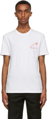 Alexander McQueen White Safety Pin Skull T-Shirt