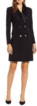 Anne Klein Long Sleeve Tuxedo Sheath Dress