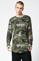 PacSun Minos Camo Destroyed Long Sleeve Extended Length T-Shirt