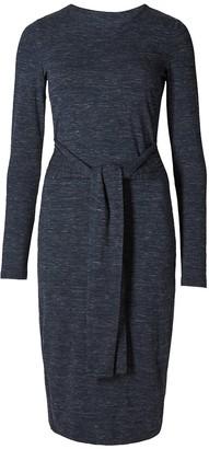 Ex Highstreet Ladies Ex M&S Blue/Grey Marl Tie Waist Long Sleeve Shift Dress (8-Short)