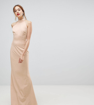 Jarlo Tall High Neck Ruched Open Back Maxi Dress-Pink