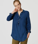 LOFT Petite Chambray Collared Tunic