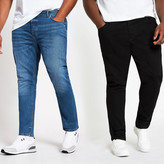 River Island Big and Tall Sid skinny jeans 2 pack