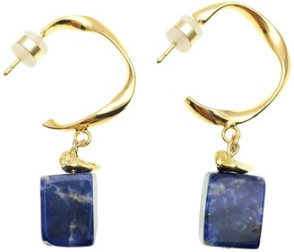 Rectangle Lapis Lazuli Hook Earrings