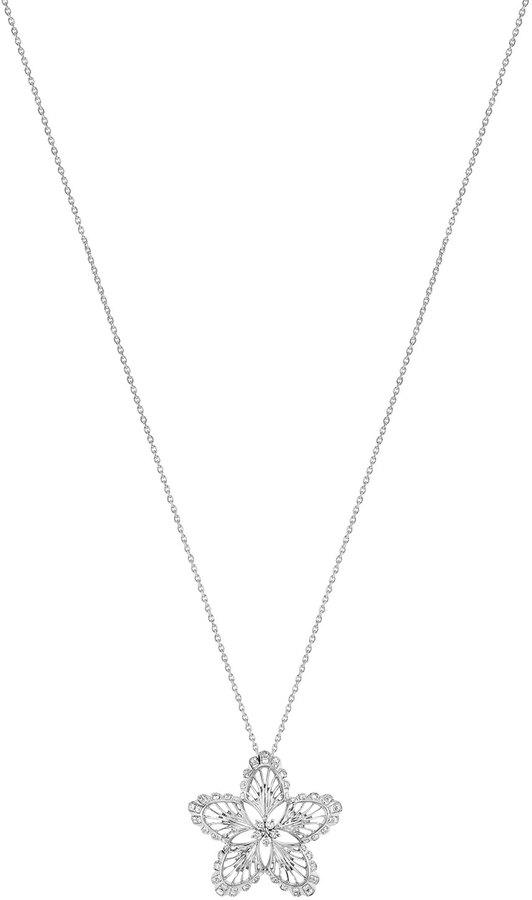 Lalique 18K White Gold Lys Diamond Pendant Necklace