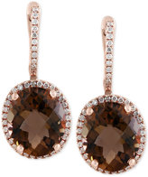 Effy Sienna by Smoky Quartz (7-7/8 ct. t.w.) and Diamond (3/8 ct. t.w.) Drop Earrings in 14k Gold