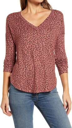 Bobeau Brushed V-Neck Top