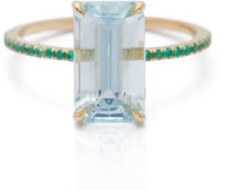 Yi Collection Aquamarine Emerald Spring Ring