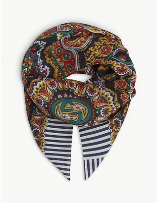 Gucci GG logo paisley wool scarf