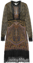 Etro Lace-trimmed Printed Silk-georgette Dress - Brown
