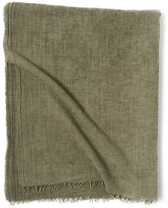 Oyuna Ambra Woven Luxury Wool & Cashmere Throw In Moss