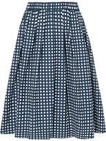 MICHAEL Michael Kors Checked Cotton-blend Poplin Skirt - Navy