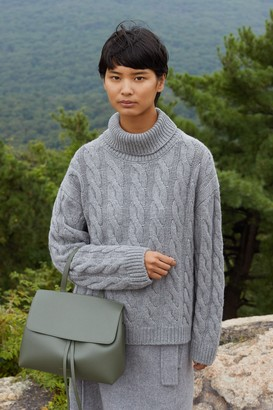 Mansur Gavriel Cashmere Oversized Cable Knit Turtleneck - Grey