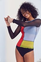 Out From Under Jane Colorblocked Mesh Long Sleeve Top