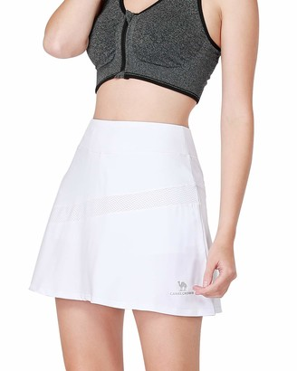 Camel Women's Active Tennis Golf Skort Pleated Athletic Sports Running Skirt with Pockets and Shorts White