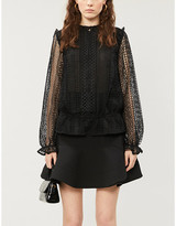 Ted Baker Zip-up frilled lace blouse
