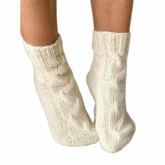 Generic Female Cable Knitted Boot Socks Winter Stockings Wool Leg Warmers for Women (White One Size)