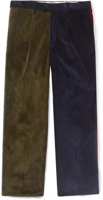 Noah Pleated Colour-Block Cotton-Corduroy Suit Trousers