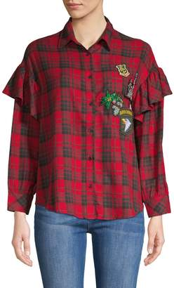 Stellah Patch Applique Checker Shirt