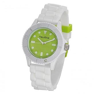 Newave nwh214bvUnisex WatchAnalogue QuartzGreen DialWhite Silicone Bracelet