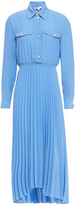 Maje Rosana Pleated Crepe De Chine Midi Shirt Dress